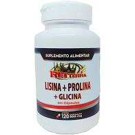 Aminoácidos Lisina + Prolina + Glicina 500mg 120 Cápsulas – Rei Terra